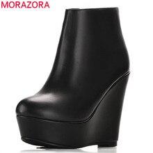 Morazora 2020 venda quente botas de couro genuíno dedo do pé redondo primavera outono tornozelo botas femininas plataforma moda cunhas sapatos de salto alto