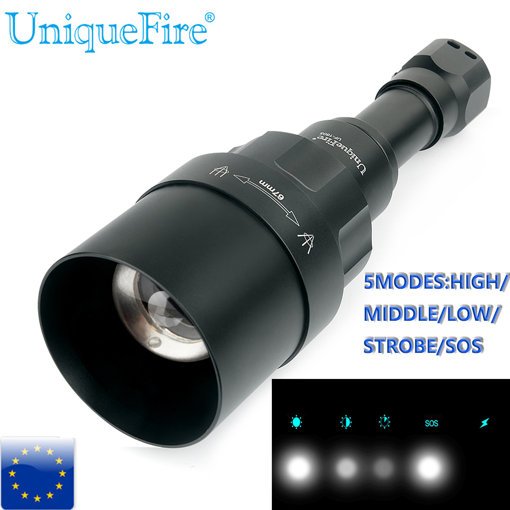 UniqueFire 5 Modes 1200LM 1605-67 Lens Tactical Flashlight Cree XML Torch Led Waterproof Flash Light 18650 Rechargeable Battery