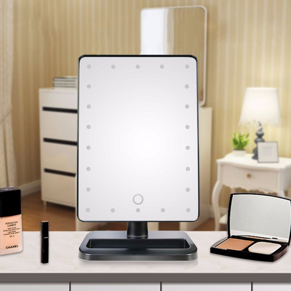 good quality 22 led lights vanity makeup mirror touch screen lighted tabletop cosmetic mirror white - Lighted Vanity Mirror