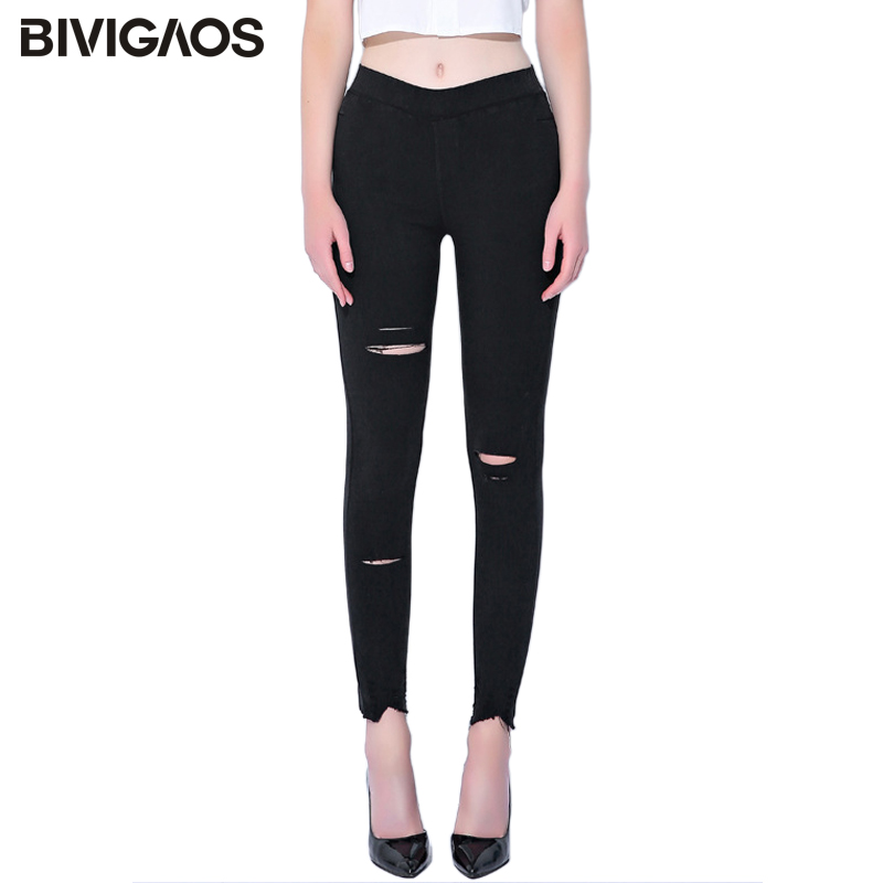 BIVIGAOS Spring Fall Women Sand Wash Ripped   Jeans   Leggings Plus Size   Jeans   Pocket Knee Holes Jeggings Skinny Slim Pencil Pants