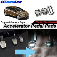 LitangLee Car Accelerator Pedal Pad Cover Foot Throttle Pedal Cover Sport Racing Model For Ford Fiesta Mark MK6 2009~2019 MT
