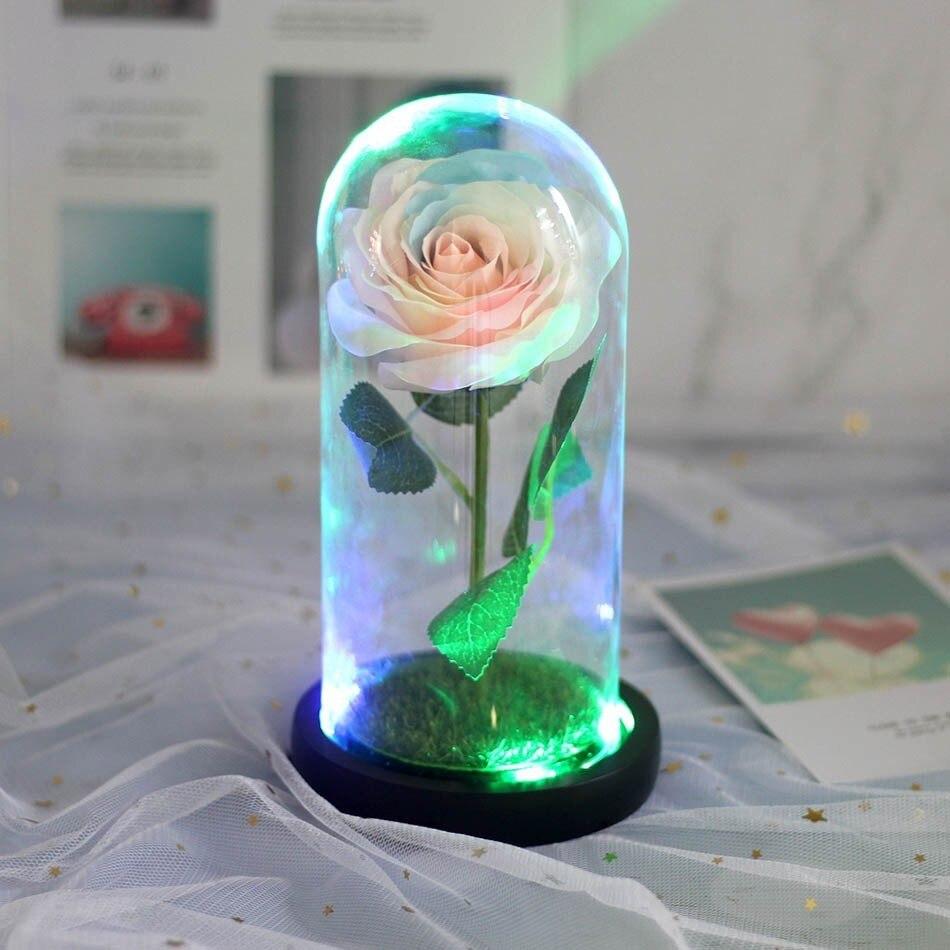 Красота и с рисунком из мультфильма «Красавица и Чудовище» в виде красных роз с яркие светодиодные светильник в Стекло купол для Свадебная вечеринка, подарок на день Святого Валентина, подарок на день матери - Цвет: 03