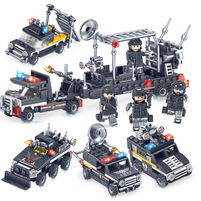 City SWAT Police Radar truck soldier Building Blocks Toys Compatible legoe Army weapon Action Figures Bricks Toy For Children 6pcs swat special forces police the wraith assault cs with motorcycles weapons figures building blocks bricks toys for kids