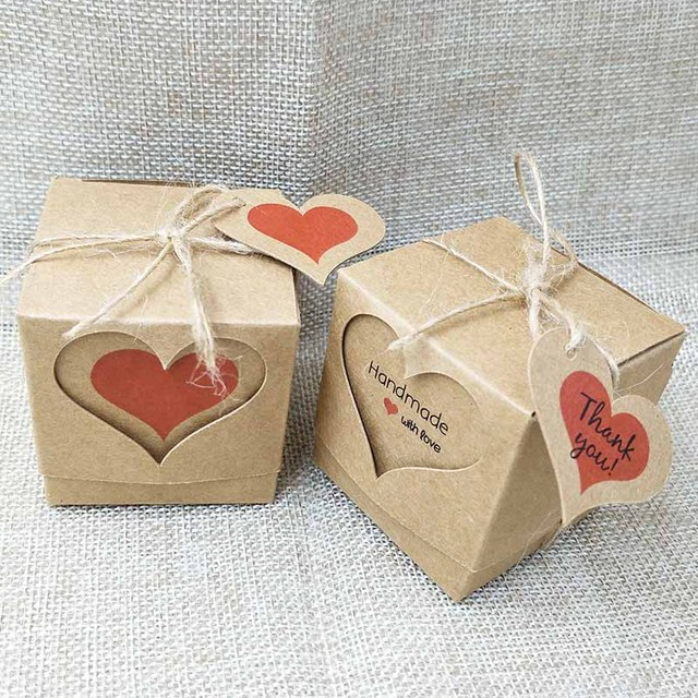 Fashion handmade heart natural kraft gift box Cute thank you heart label with candy / & Aliexpress.com : Buy Fashion handmade heart natural kraft gift box ... Aboutintivar.Com
