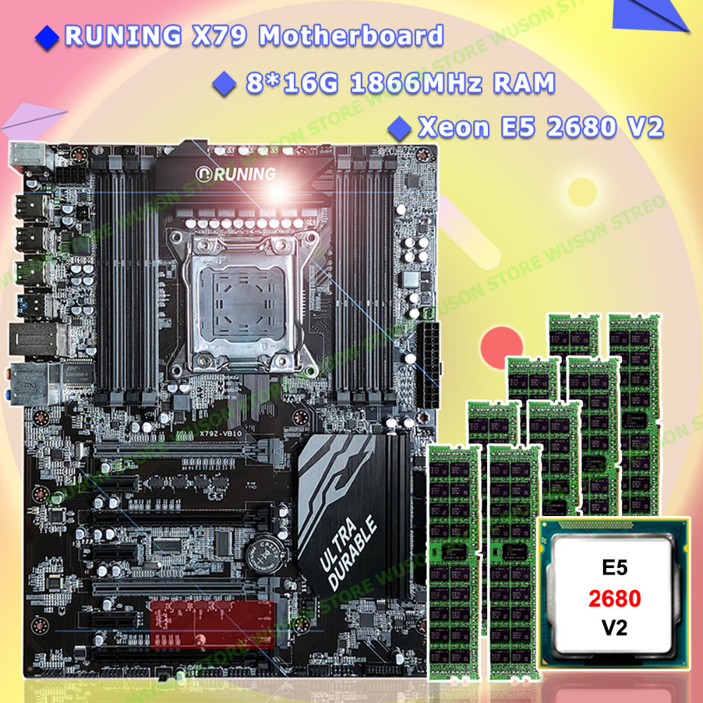 Neu! Runing Super ATX X79 LGA2011 motherboard 8 DDR3 dimm-steckplätze max 8*16G speicher Xeon E5 2680 V2 CPU 128G (8*16G) 1866 MHz DDR3 RECC
