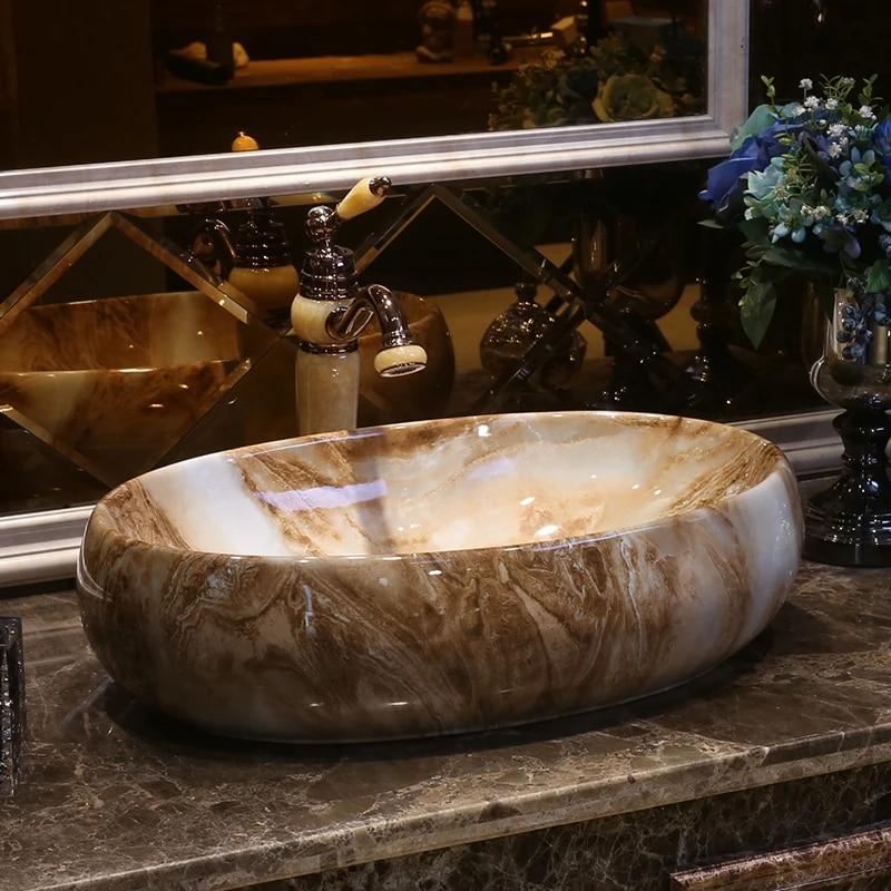 europe style chinese art porcelain basins sinks oval shape imitation marble bathroom sinks vanity bowl sink