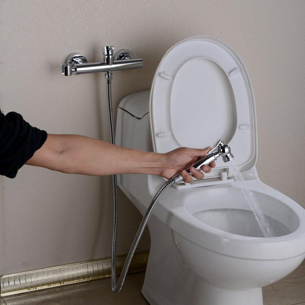Toilet Mixer Bidet Sprayer Faucet Mixing Valve with Hose, Bracket ...