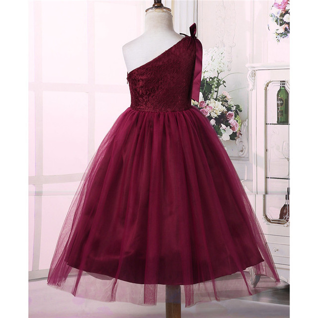 Embroidered Floral Lace Little Bridesmaid Dress Kids Girls Princess Dress One Shoulder Bowknots Wedding Birthday Party Dress 1
