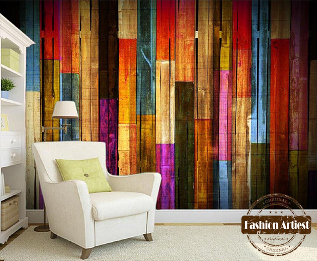 Custom Modern 3d Wallpaper Mural Vintage Color Wooden Board Wall Tv
