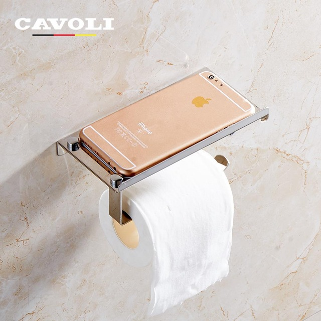Cavoli Stainless Steel Wall Mounted Paper Holders With Phone Shelf Toilet Roll Bathroom Tissue Box