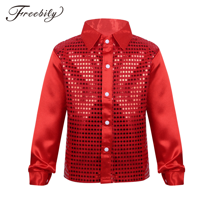 Children Kids Boys Glittery Sequined Long Sleeve Spread Collar Shirt For Choir Jazz Dance Stage Performance Boy Dancing Costumes