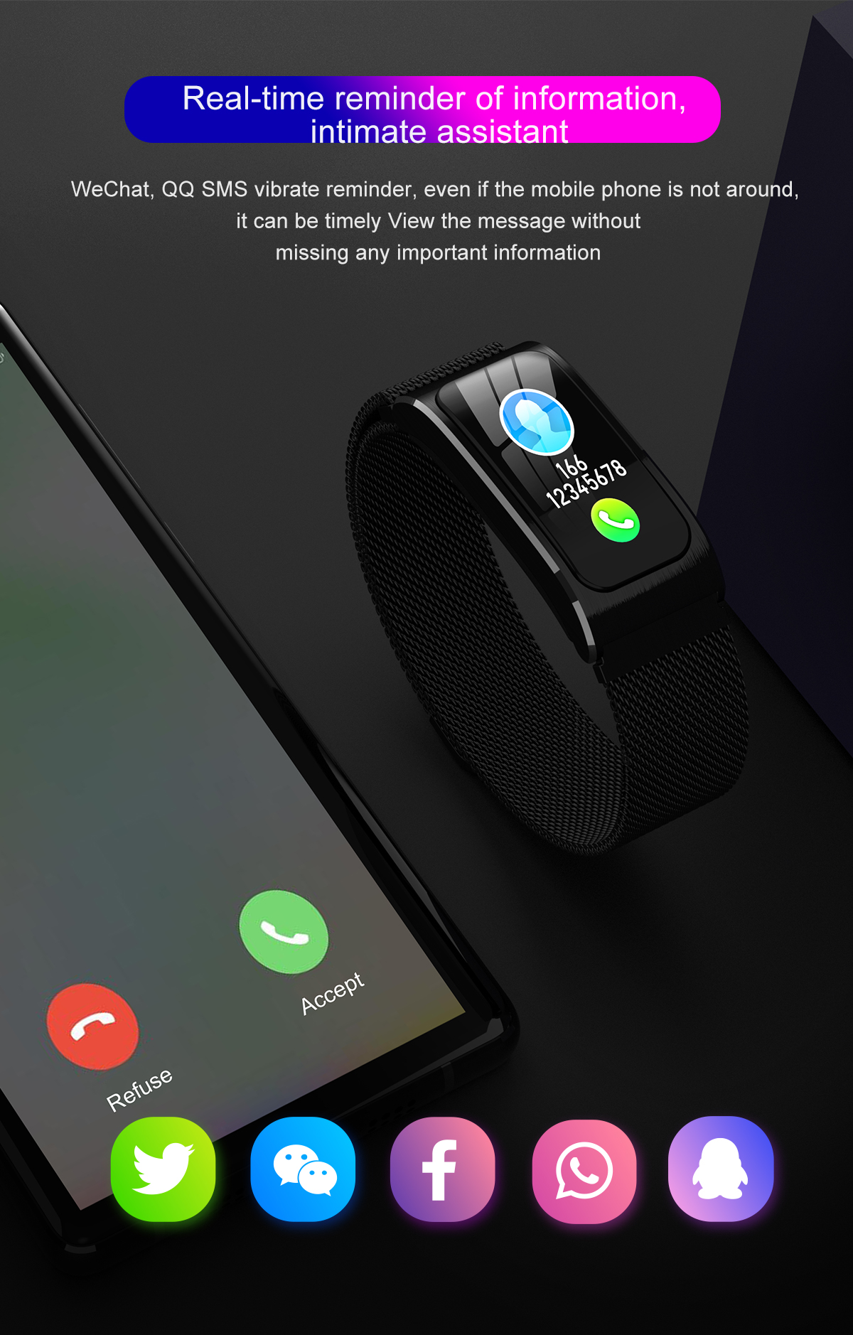 """Smartwatch 1,14"""" IP68 impermeable Android IOS 13"""