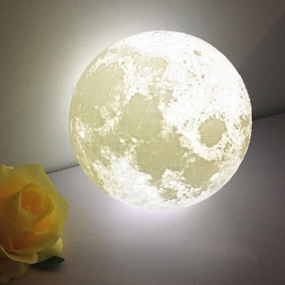 3D Print Simulation Moon Light Romantic Gift USB Charging Bedroom Lamp