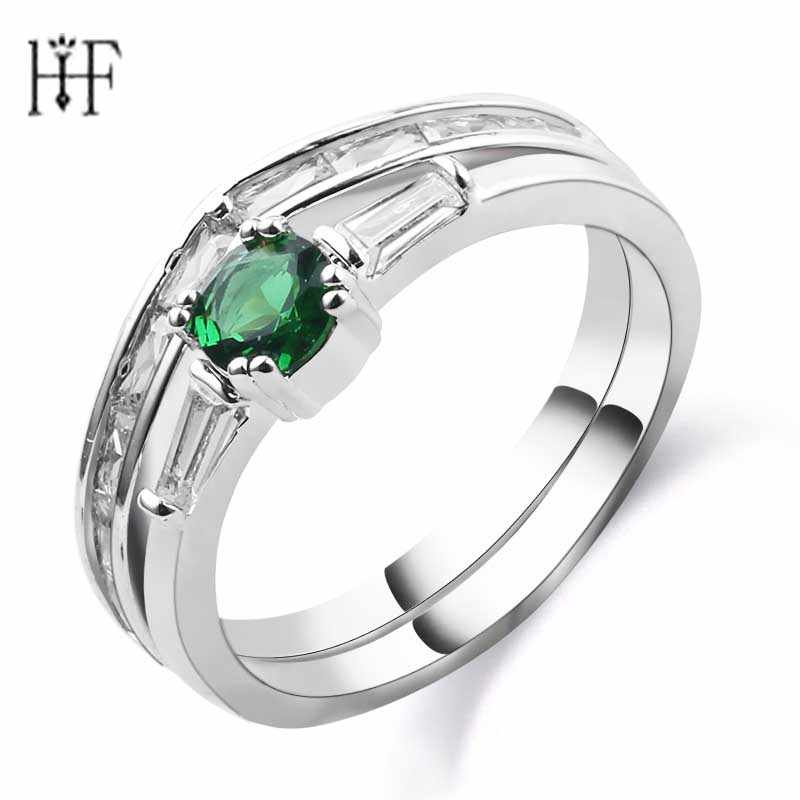 1 комплект, зеленое кольцо, новая мода, обручальное кольцо, зеленый циркон, кольца для мужчин и женщин, Серебряное золото, заполненное ювелирное изделие, подарки, бижутерия