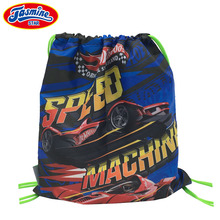 JASMINESTAR 38*33CM Drawstring Backpack Shoes Waterproof Nylon Boys Cartoon  Race Car Storage Bags Baby Kids Travel Shoes Pouch