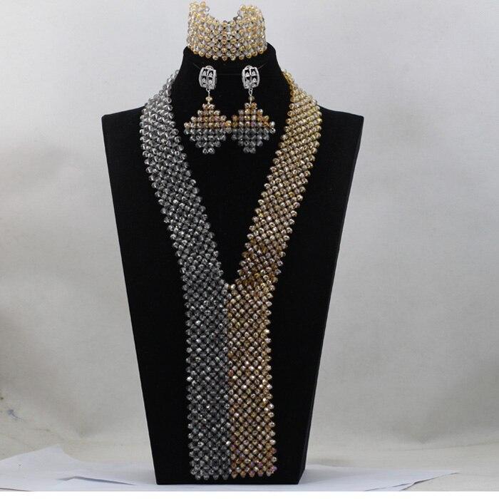 New Grey and Gold Jewelry African Beads Jewelry Set Wedding Bib Statement Necklace Set Fashion Jewelry Set Free Shipping WD427New Grey and Gold Jewelry African Beads Jewelry Set Wedding Bib Statement Necklace Set Fashion Jewelry Set Free Shipping WD427