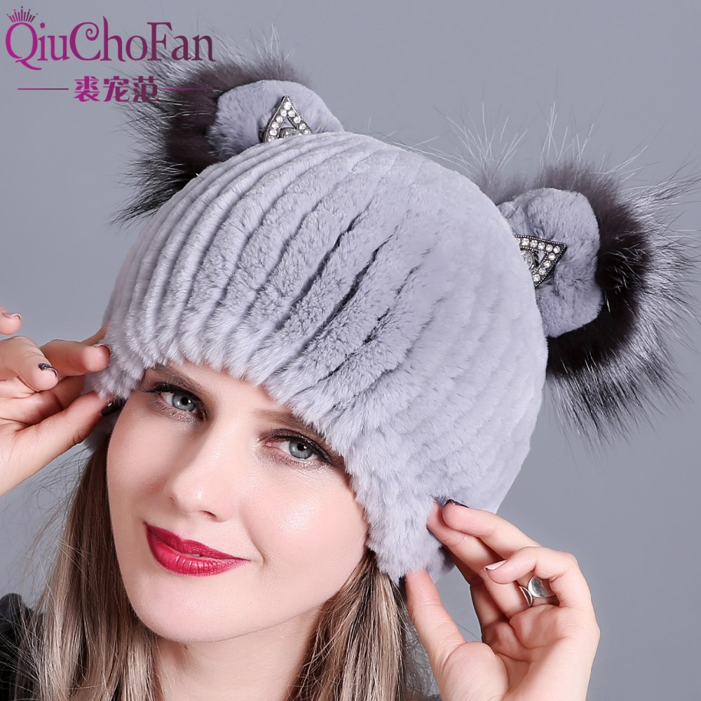 Natural Rabbit Fur Hats For Women Cute Cat Ear Thick Winter Hat Female Fashion Fur With