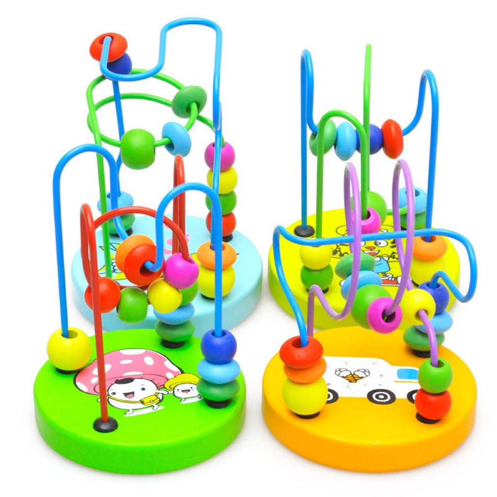 Baby Early Learning Toy Toddler Color Wooden Puzzle Toy Mini Around Beads Wooden Educational Mathematics Toys For Children