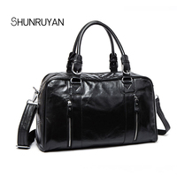 SHUNRUYAN Cow Leather Men Travel Bags Carry on Luggage Bags Men Duffel Bags Travel Tote Large Capacity Shoulder Business bags