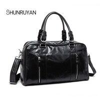 Shunruyan из коровьей кожи Для мужчин Дорожные сумки вести Чемодан Сумки Для мужчин Duffel Сумки сумка большой Ёмкость плеча Бизнес Сумки