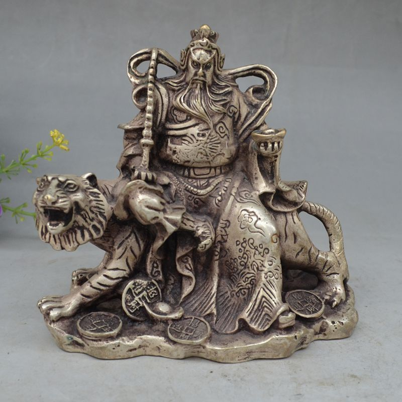 Collectible Decor Old Handwork Miao Silver Carved Gong Ming Riding Tiger StatueCollectible Decor Old Handwork Miao Silver Carved Gong Ming Riding Tiger Statue