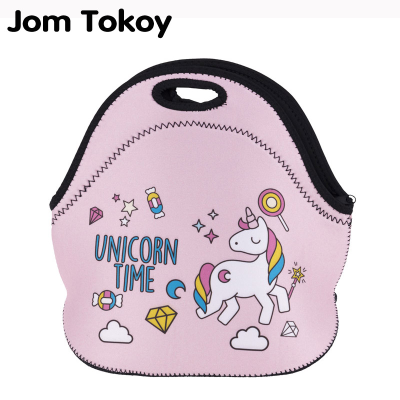 Jom Tokoy UNICORN TIME Thermal Insulated 3d print Lunch Bags for Women Kids Thermal Bag Lunch Box Food Picnic Bags Tote Handbags