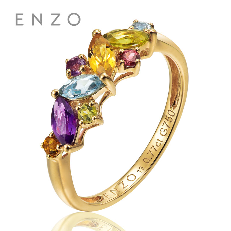 ENZO Rainbow 18K Gold Leaf Shape Ring Natural Colourful Crystal Ring With Fancy Design Wonderful Jewelry