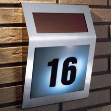 3 LED Outdoor Solar Light Stainless Solar Powered Illumination Doorplate Wall Lamp House Street Alphanumeric Number Light