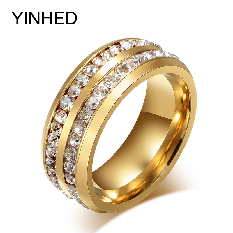YINHED Never Fade Stainless Steel Ring Gold Color Fashion Jewelry 2 Row Zircon Crystal Wedding Rings for Women and Men ZR190