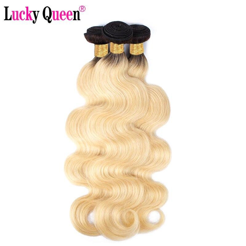 Lucky Queen Hair 1B 613 Brazilian Body Wave Hair 3 4 Bundles Dark Roots Ombre Light