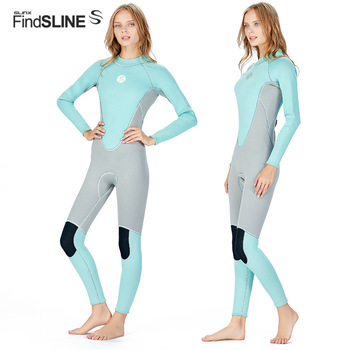 SLINX Female Full-body Diving Suit Women Back Zipper Wetsuit 3mm Neoprene Thickened Long Sleeve Keep Warm Swimming Wet Suit