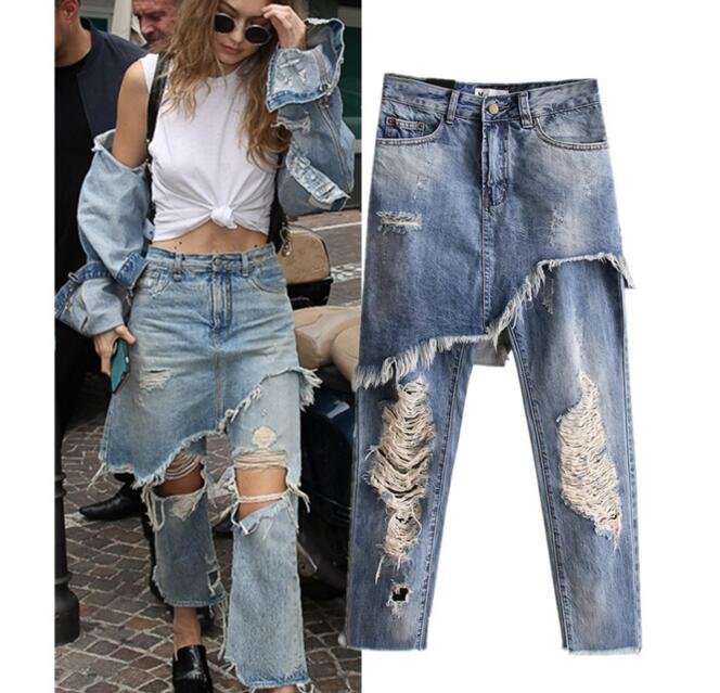 Ripped Hole Fake Two Pieces Jeans Pants Women High Waist Washed Straight Casual Ankle Length Denim