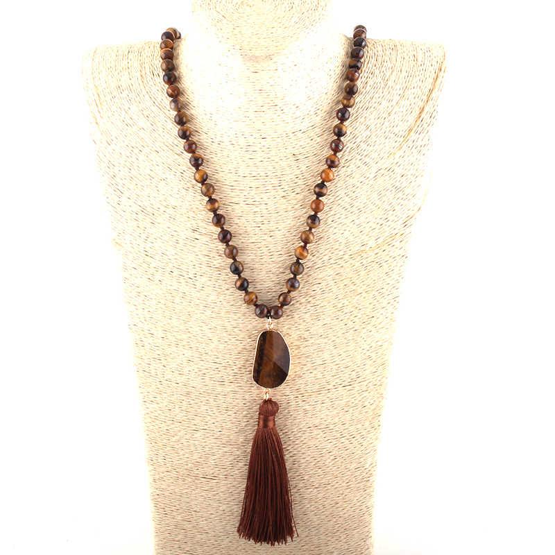 Mode Bohemian Tribal Schmuck Natürliche Steine Lange Verknotet Lange Quaste Halsketten Frauen Halskette Dropship