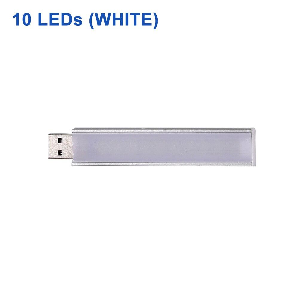 DC 5 В Мини светодиодный Ночной светильник, портативный 10 светодиодный s 24 светодиодный s USB настольная лампа для чтения, сгибаемый удлинитель, адаптер для США, книжный светильник s - Испускаемый цвет: 10LEDs White