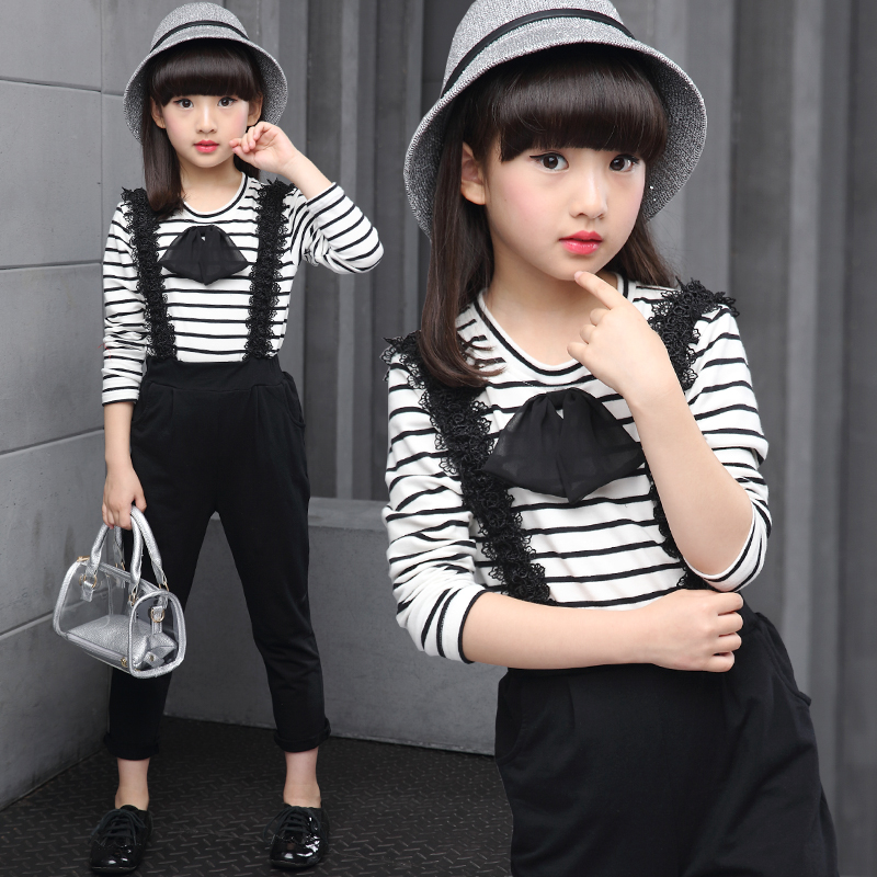 Childrens clothes girls spring suits new striped tt shirt + overalls Big girls autumn sports leisure sets kids clothes