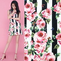 100cm*145cm Rose Striped Printed Jacquard Dress Fabric Brocade Embossed Cloth