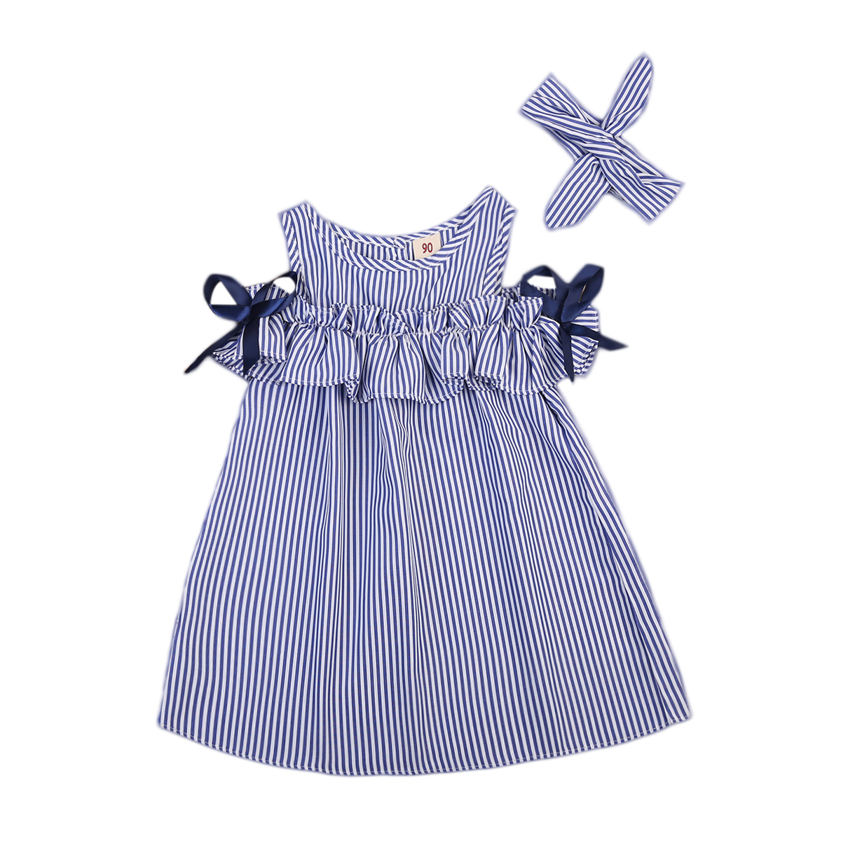 Blue Striped Dresses Fashion Kids Baby Girls Off Shoulder Floral Tops bowknot Stripe Dress Outfits