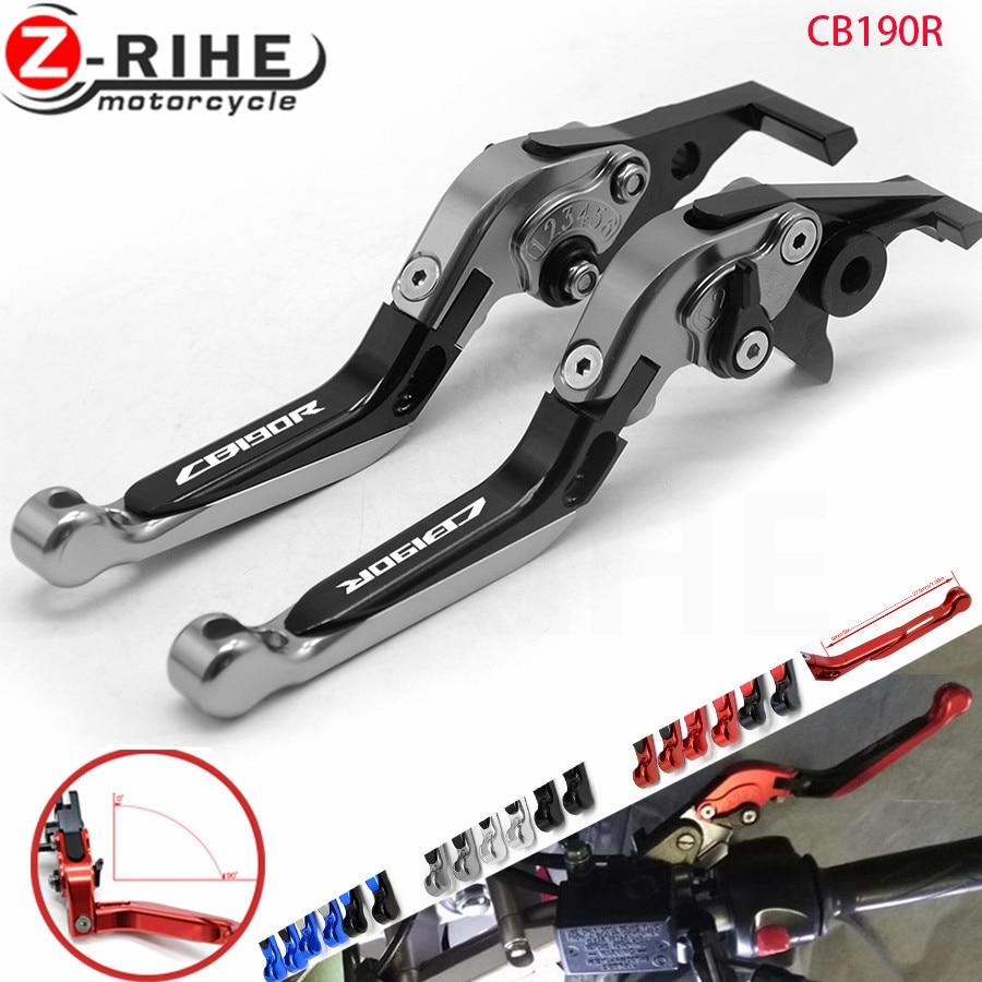 Motorcycle Folding Extendable CNC Moto Adjustable Clutch Brake Levers For Honda CB 190R CB190R CB 190 R 2015-2018 2016 With Logo motorcycle cnc folding brake clutch levers
