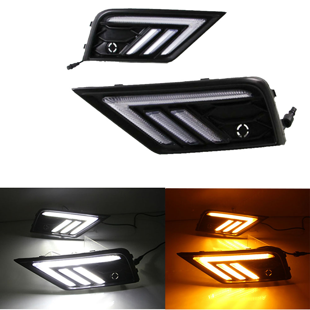 Car Styling for VW Volkswagen Tiguan L 2017 2018 DRL LED Width Light DRL Signal Light Fog Lamp Daytime Running light car styling led drl daytime running light for volkswagen vw golf 7 mk7 2013 2017 led bumper drl with yellow turn signal