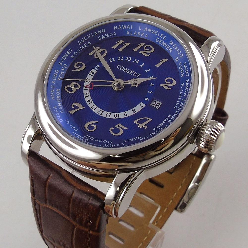 43mm corgeut duży pilot niebieski dial brązowy skórzany pasek GMT skórzany pasek automatyczny męski zegarek na rękę 37 w Zegarki mechaniczne od Zegarki na  Grupa 1