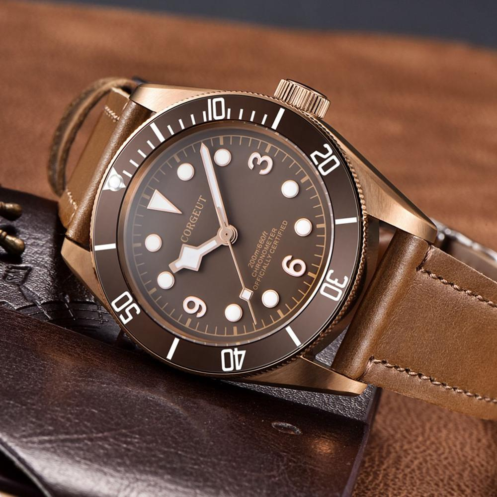Corgeut Luxury top Men Automatic Mechanical Watch Military Sport Swim Clock Black Bay Sapphire Glass Waterproof Wrist Watches