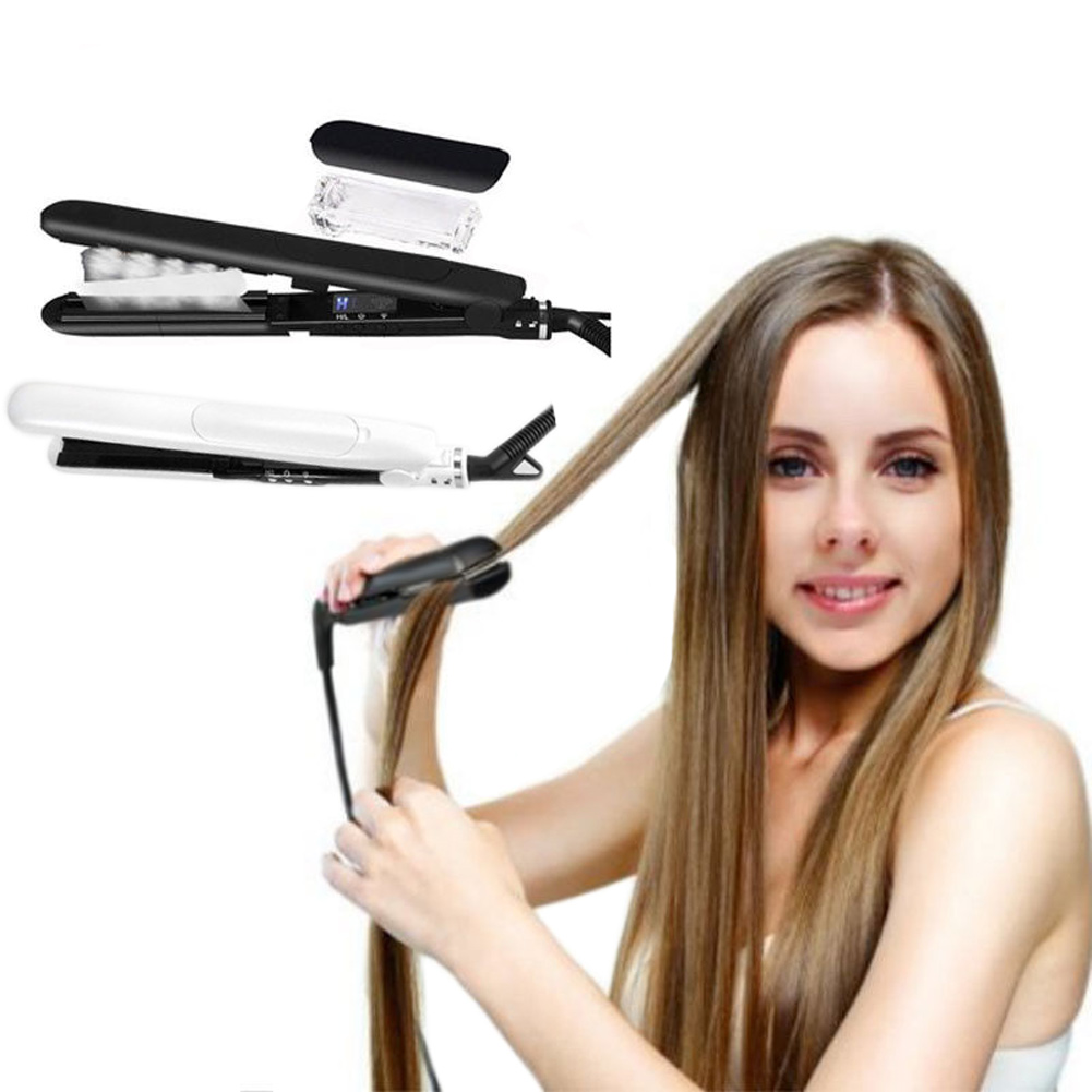 1PC Ceramic Tourmaline Flat Iron Injection Painting Hair Straightener Argan Oil Steam Treatment Hairs Care Styling Tools