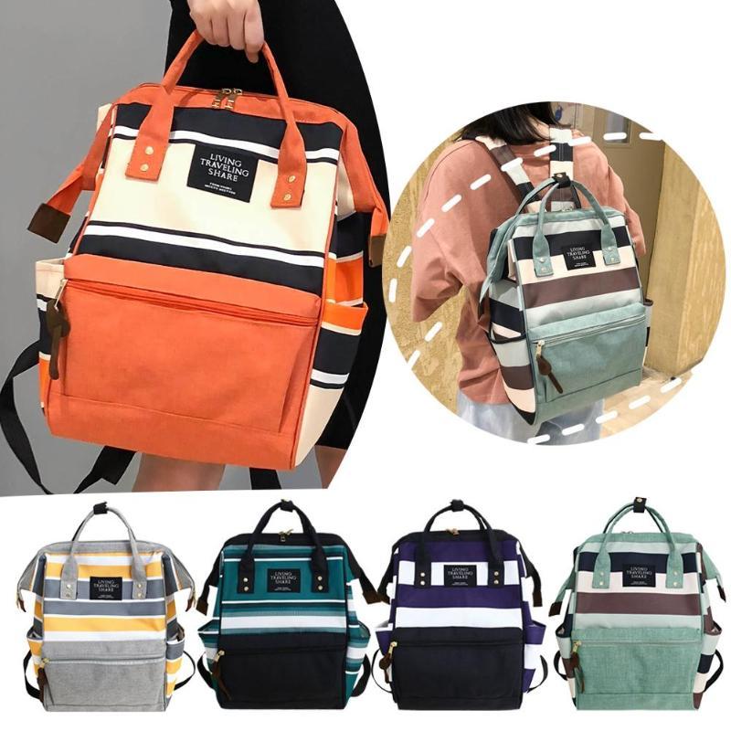 Stripe Travel Backpacks Mummy Diaper Bag Women Backpack Canvas Shoulder School Bags Top-handle Bags