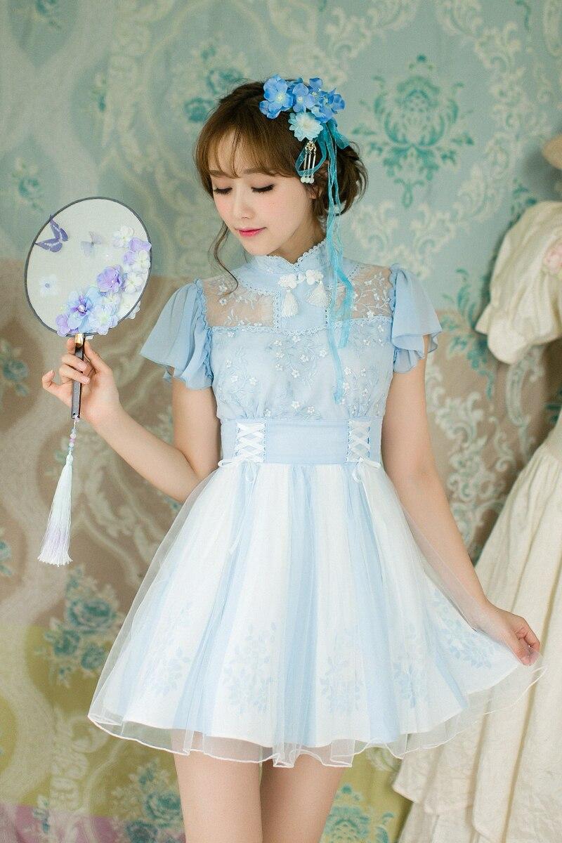 Princess sweet lolitacandy rain Chinese style Sweet Princess Embroidery Chiffon dress C22AB7086