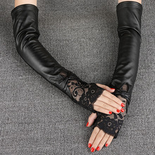 Fashion Black Lace Sheepskin Gloves Female 40cm Long Arm Warmers Women Semi-Fingers Genuine Leather Half Finger Mittens