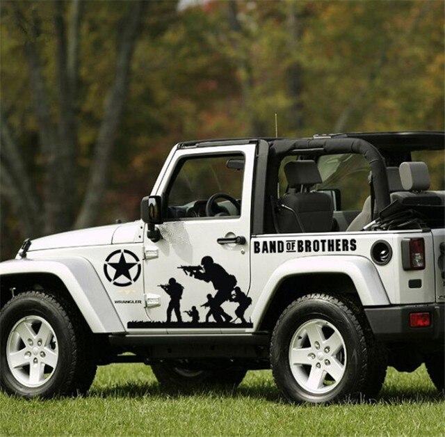 8 pieces pintu bodi mobil hood stiker mobil vinyl sticker army bintang decals mobil untuk jeep