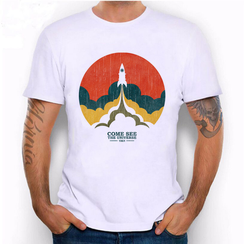 Rocket Launch Come See The Universe Printed T-shirt Hillbilly New Listing Mans Clothing Street Casual Style Cool Short Sleeves