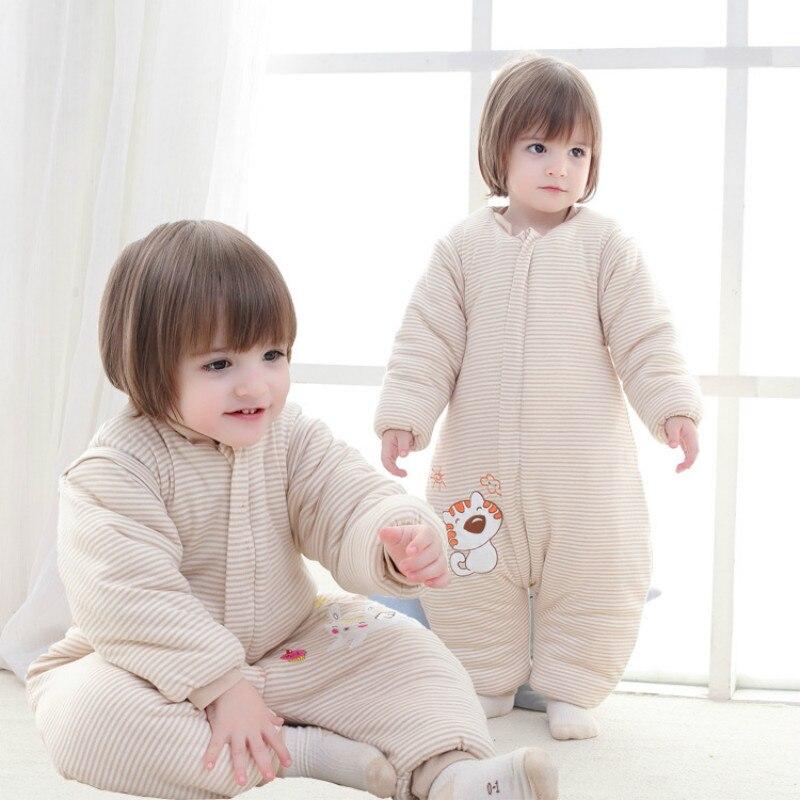 все цены на Pure Cotton Baby Sleeping Bag Autumn Winter Anti Kicking Thickened Split Leg Sleeping Bag Detachable Sleeve Children Sleep Sack