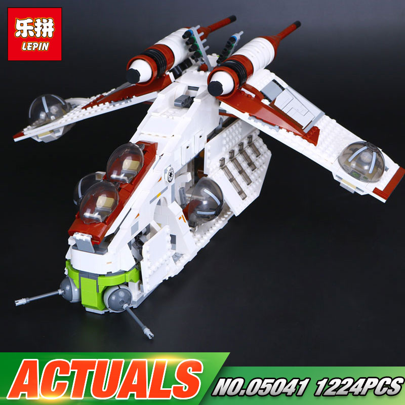 New Lepin 05041 Star Toys Wars The 75021 Republic Model Gunship Set Building Blocks Bricks Toys For Kids Christmas Gifts Model lepin legoing 75021 1224pcs star series wars the republic gunship building blocks brick educational toys for children 05041