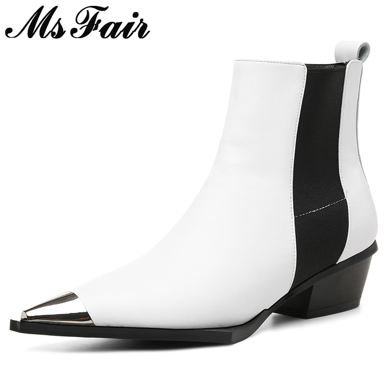 MSFAIR Women Boots Fashion Pointed Toe Med Heel Ankle Boots Women Shoes Genuine Leather Boot Shoes Square Heel Boots For Girl xiangban handmade genuine leather women boots high heel ankle boots pointed toe vintage shoes red coffee 6208k11